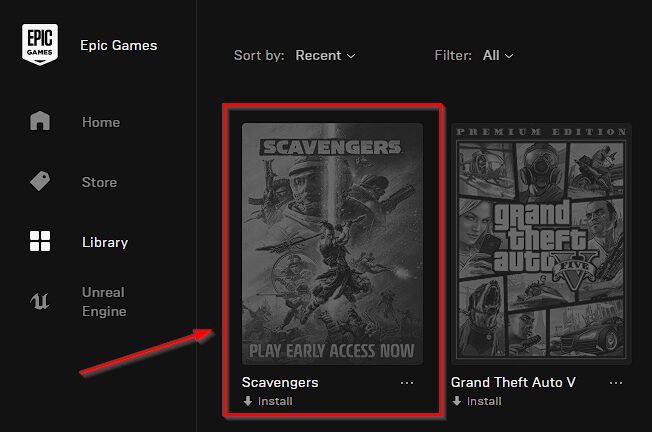 Scavengers Game on the Epic Games
