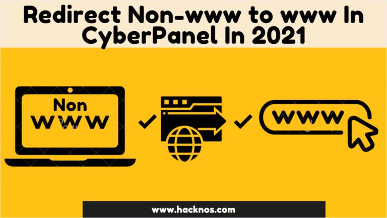 Redirect Non-www to www In CyberPanel